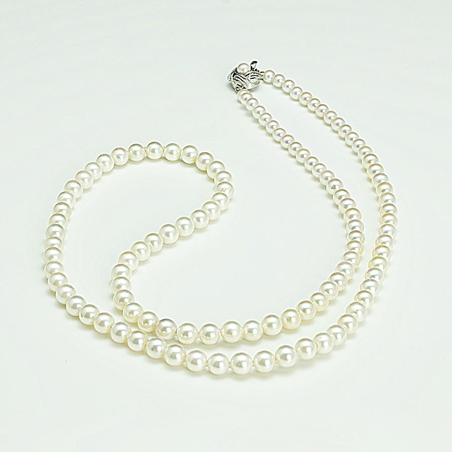 セミロングネックレス・あこや本真珠5.5mm~7.0mm・ホワイト系・クラスプシルバー・長さ78cm普段使いカジュアルに最適