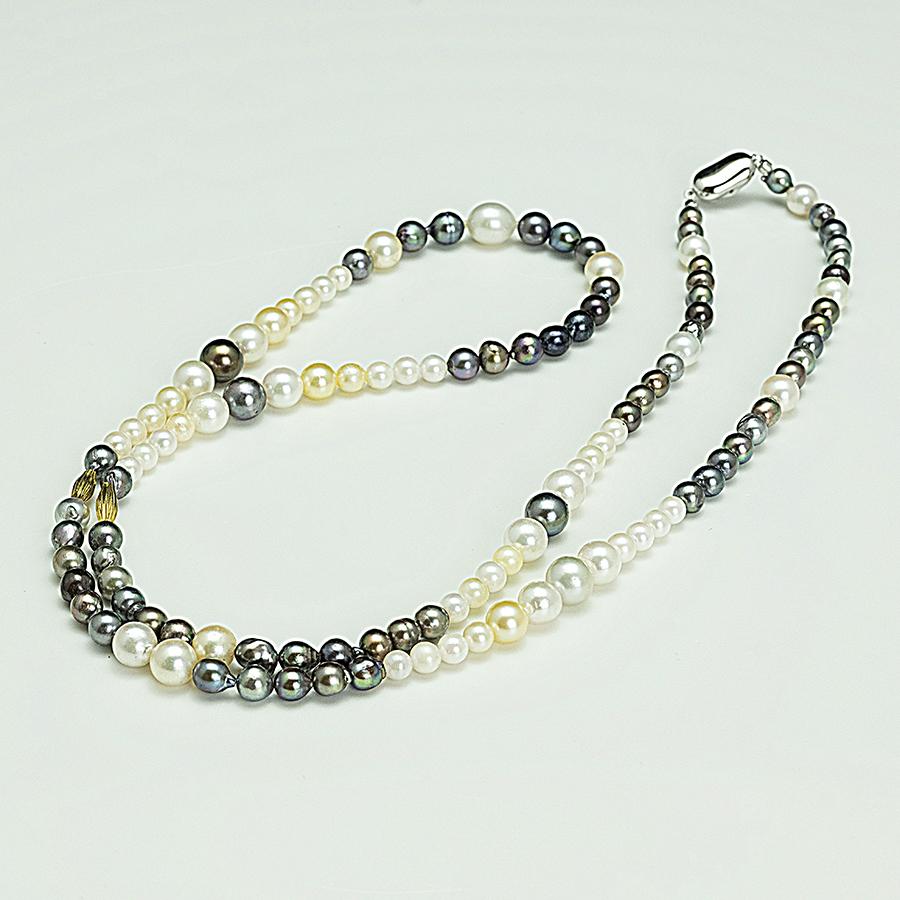 デザインネックレス・あこや本真珠5.0mm~8.8mm・マルチカラー・クラスプシルバー・長さ83cm普段使いカジュアルに最適