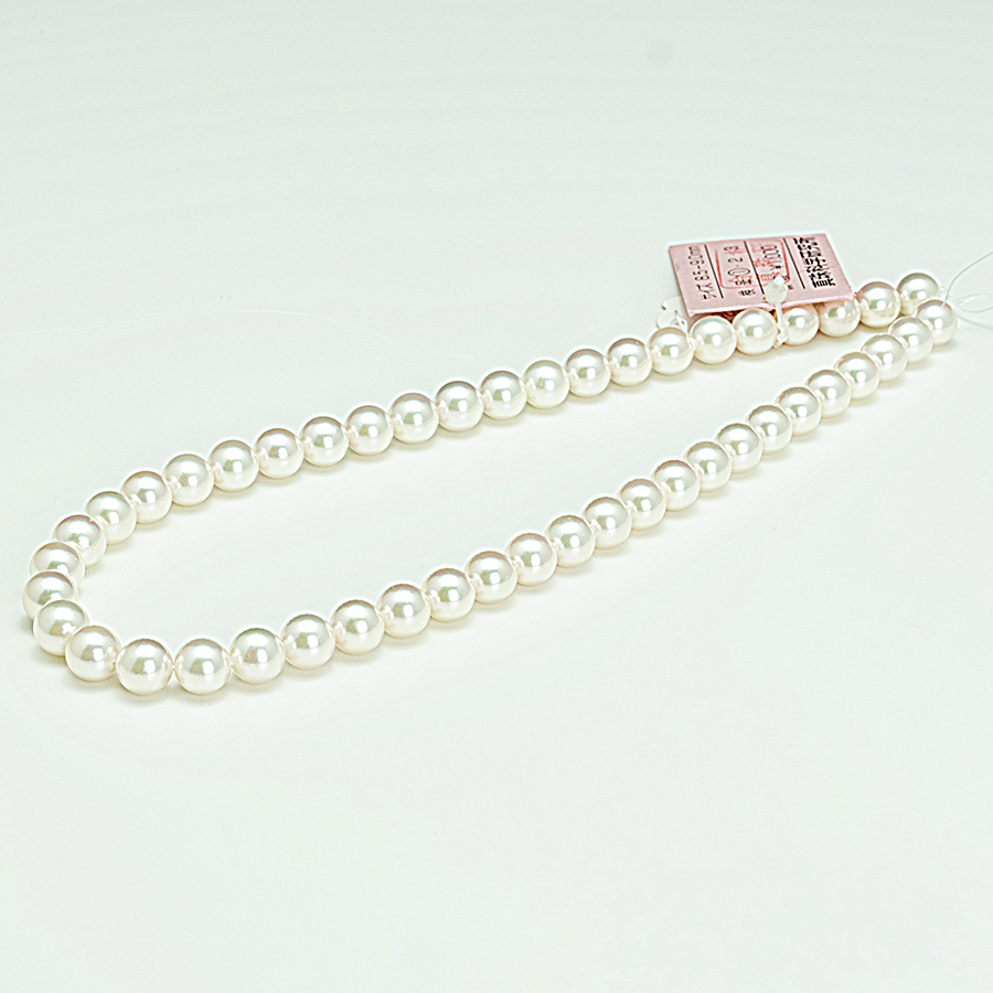 ネックレス・あこや本真珠8.5mmオーロラ花珠ソーティング・ホワイトグリーンピンク・クラスプシルバー加工・長さ42cm冠婚葬祭に最適