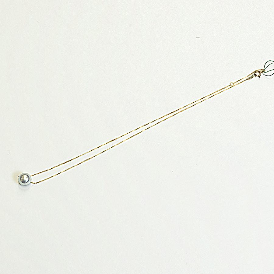 ネックレス・あこや本真珠9.0mmナチュラルブルー系・0.7mmK18イエローゴールド小豆チェーン40cm普段使いに最適です。