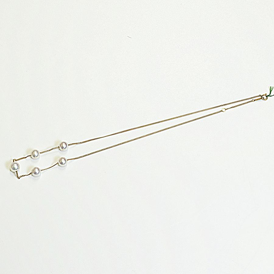 ステーションネックレス・あこや本真珠サイド7.2mm~トップ7.7mmホワイトピンク系・K18イエローゴールド喜平チェーン40cm普段使いに最適です。