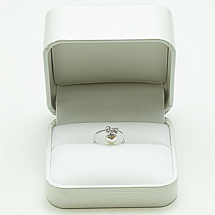 大特価1点物!!リング・珍しいハート型アコヤ本真珠スイングタイプ・シルバー・リングサイズ9.5号・ピンキーにも使えます。