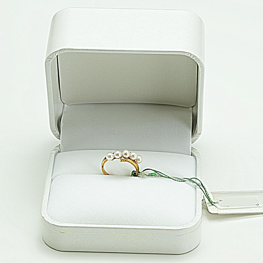 大特価1点物!!リング・アコヤ本真珠4.0mm 5個付け・K18・メレダイヤ入り・リングサイズ9.5号