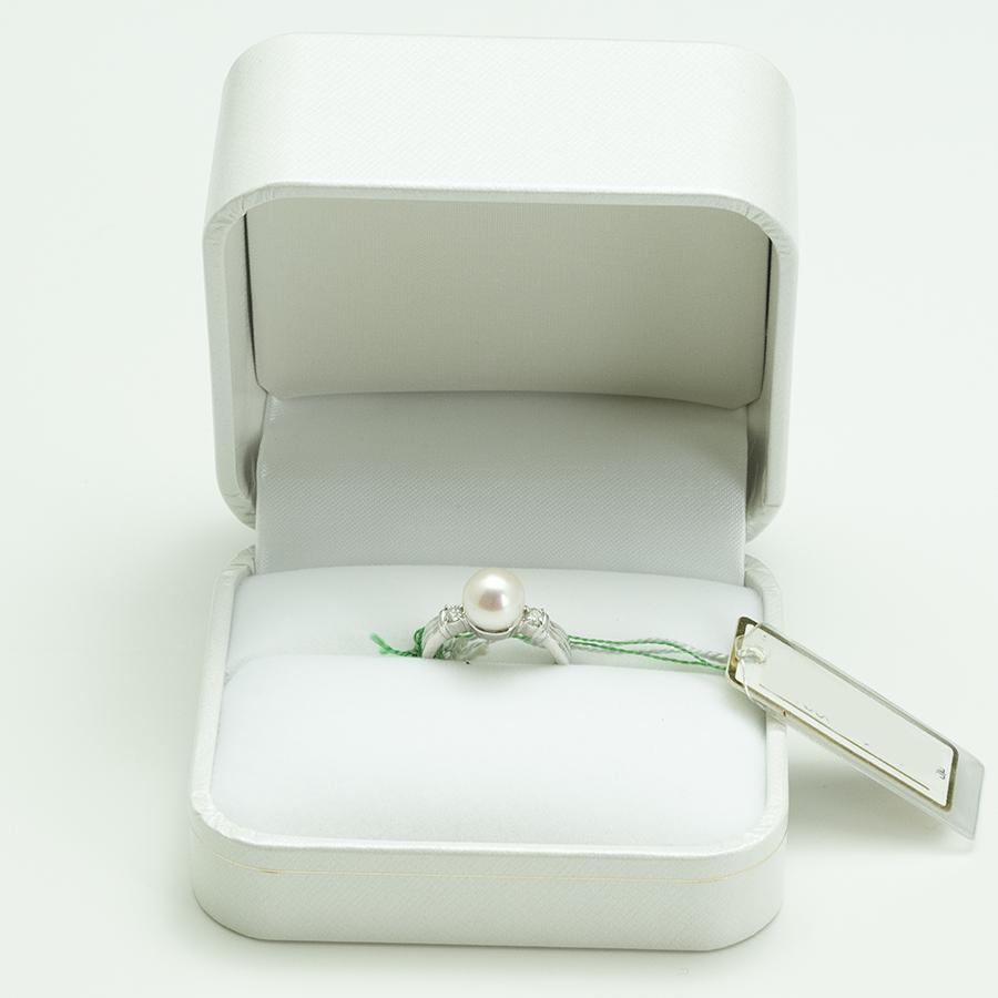 大特価1点物!!リング・アコヤ本真珠8.1mm PT900・メレダイヤ入り・リングサイズ11号