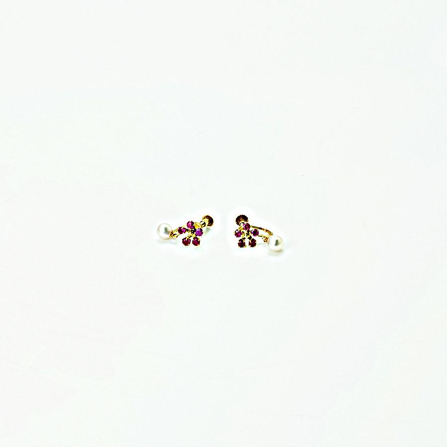 大特価1点物!!イアリング・アコヤ本真珠ベビーパール4.0mm K18ホワイトゴールド・スイングタイプ