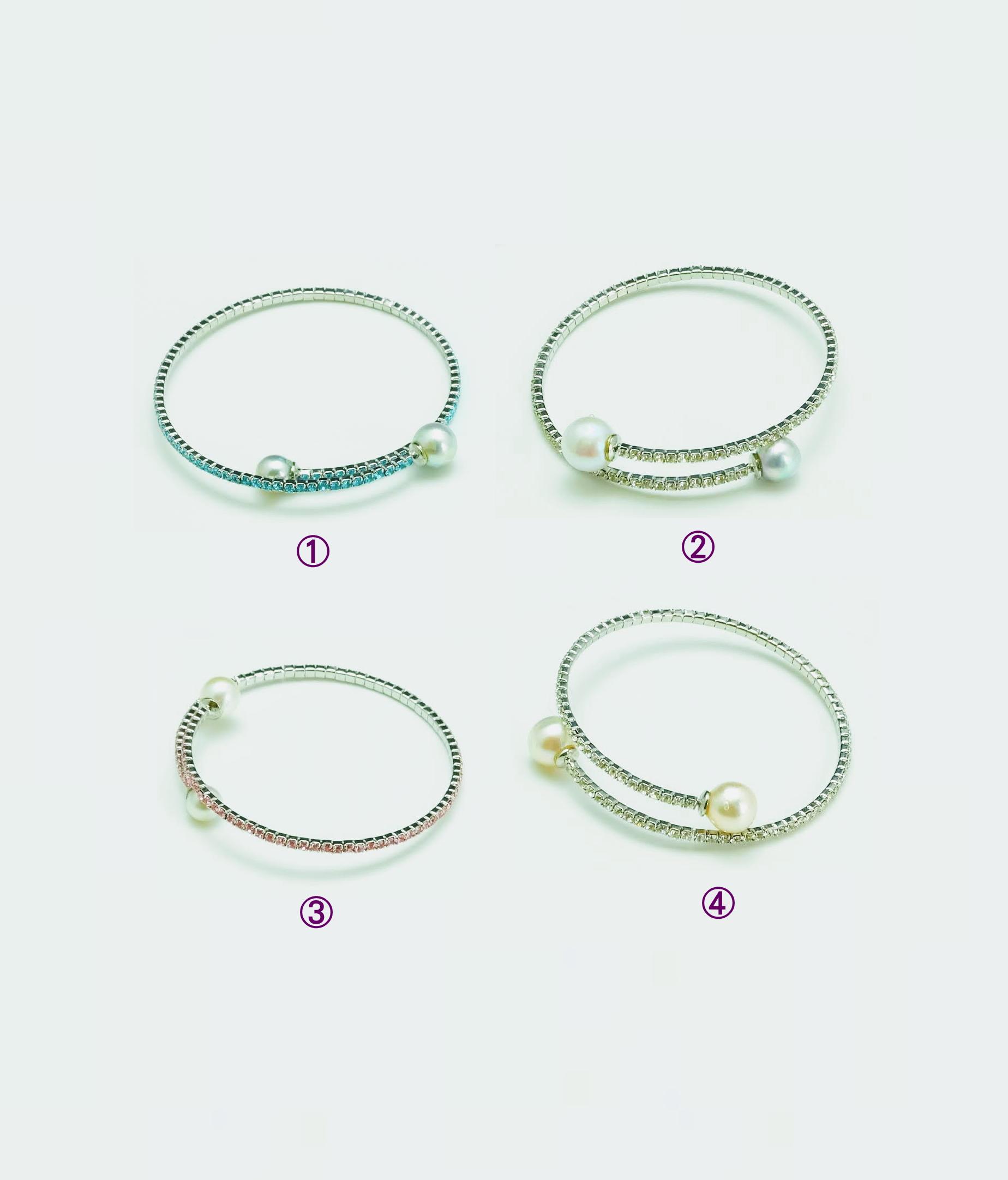 大特価1点物!! アコヤ本真珠2個付・形状記憶ブレスレット・フリーサイズ
